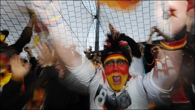 A German fan celebrates