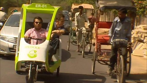 E-rick and traditional rickshaw