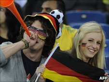 German fans with a vuvuzela