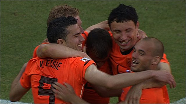 The Dutch celebrate their opener