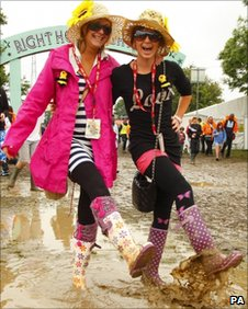 Festival-goers at the Isle of Wight