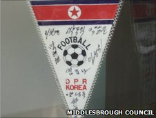 North Korean signed pennant