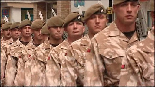 Parading soldiers