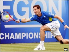 Andy Murray in action at Queens