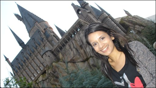 Sonali at Harry Potter theme park