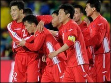 North Korea celebrate scoring