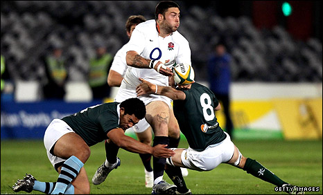 England wing Matt Banahan is tackled during Saturday's match