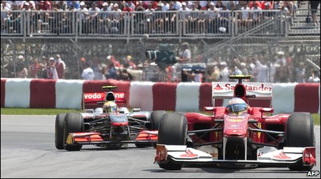 Alonso leads Hamilton in the Canadian GP