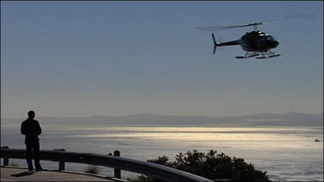 A helicopter films Gary Lineker in South Africa