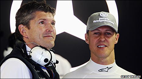 Mercedes CEO Nick Fry (left) and Michael Schumacher