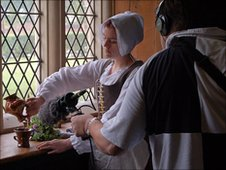 Chris Roberts sound recording with Victoria Louise as a maid in the Hickman household. Photograph by John Bennett