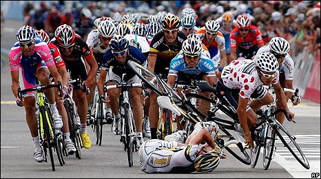 Mark Cavendish crashes to the ground on Tuesday
