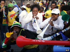South Africans fans blowing vuvuzelas