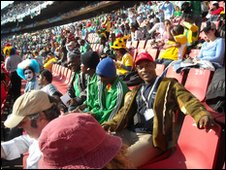 School Reporters Timothy and Eniola at Ellis Park stadium, Johannesburg