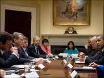 BP bosses including chief executive Tony Hayward (L) at the White House meeting Preisdent Obama (2nd R)