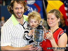 Kim Clijsters with husband Brian Lynch and daughter Jada at the US Open