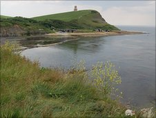 A view of Clavell Tower from Kimmeridge Bay