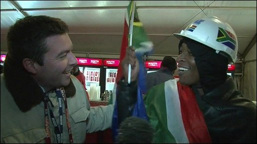 James Harrod and a South Africa fan