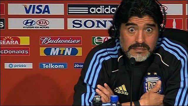 Argentine coach Diego Maradona