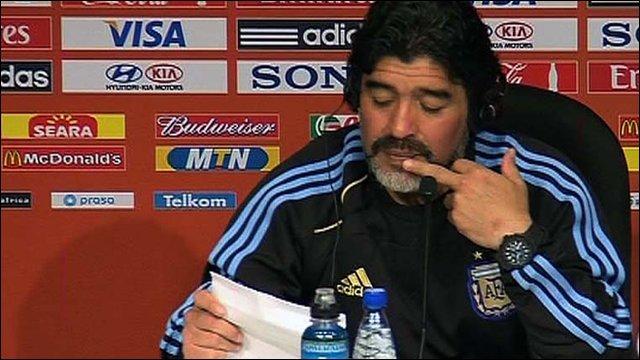 Argentine manager Diego Maradona