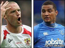 Stevenage's Andy Drury and Portsmouth's Kevin-Prince Boateng