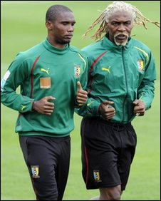 Cameroon's Samuel Eto'o and Rigobert Song