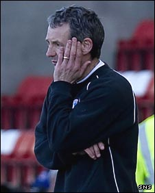 Kenny Black looks on in disbelief as Airdrie lose to Brechin