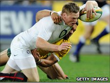 Chris Ashton stretches over to score England's second try