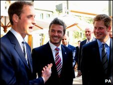 Beckham and Princes William and Harry