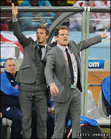 David Beckham and England coach Fabio Capello