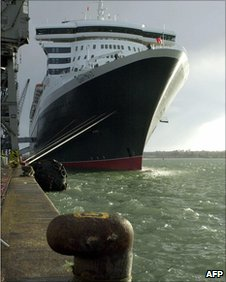 The Queen Mary 2 docked in Southampton