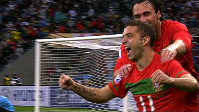 Simao celebrates scoring for Portugal