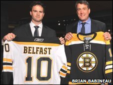 Belfast's GM Todd Kelman with Boston president Cam Neely