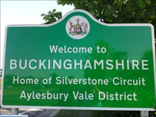 A sign saying Silverstone is in Buckinghamshire
