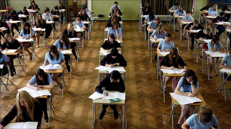 School children sitting exams.