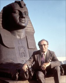 Dr Jacob Bronowski at Cleopatra's Needle, taken from series 'The Ascent of Man'