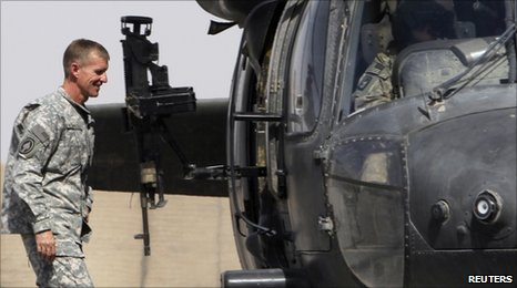 Gen Stanley McChrystal boards a US helicopter in Afghanistan, 7 June 2010