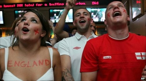 Fans watch England play