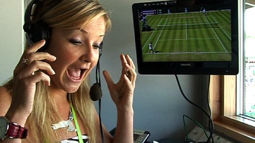 Helen Skelton in the commentary box