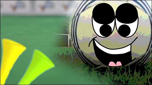 A cartoon animation of the Jabulani ball