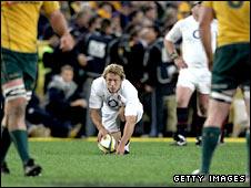England's Jonny Wilkinson lines up a penalty against Australia