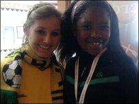 Zandile meets another Bafana Befana fan before the match.
