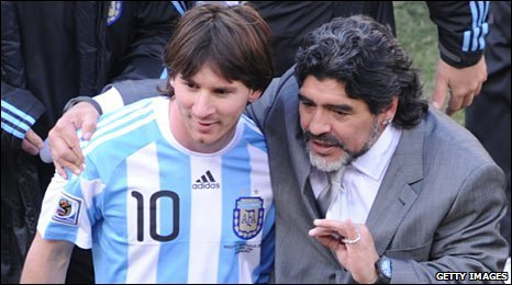 Lionel Messi (left) and Diego Maradona