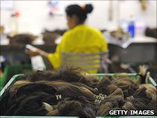 A hair processing factory