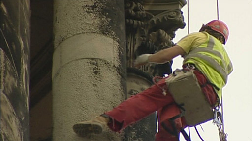 Abseilers check on the condition of St Chad's Church in Shrewsbury