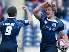 Scotland rugby players celebrate