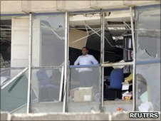 An Trade Bank employee inside the bombed building in Baghdad, June 2010