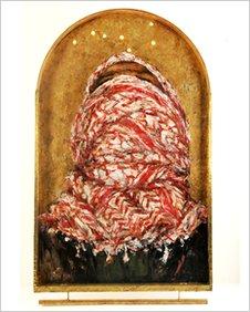 Ayman Baalbaki, Ya illahi (God!!), acrylic on panel with brass, steel, gold leaf and light bulbs. 210x127x8cm, 2008