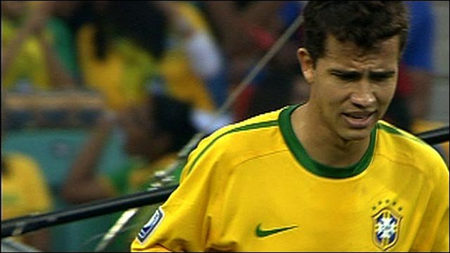 Nilmar hits the post for Brazil