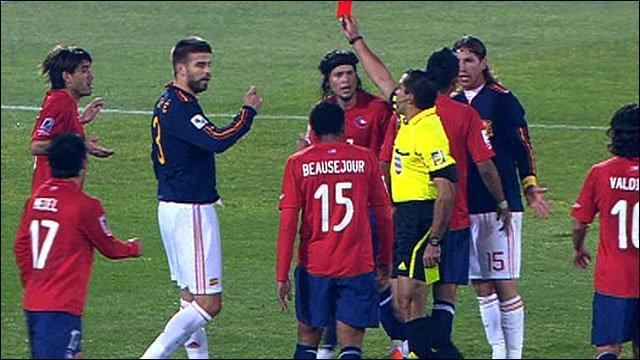 Chile's Marco Estrada is sent off